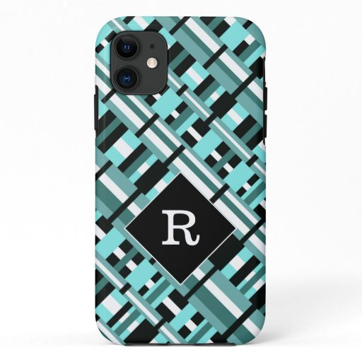 Plaid in Aqua, Teal, Black & White Monogram iPhone 11 Case