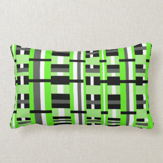 Plaid in Lime Green, Black & Gray Pillow