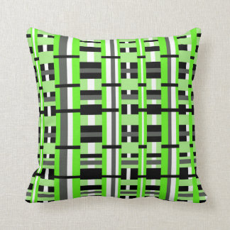 Plaid in Lime Green, Black & Gray Throw Pillow