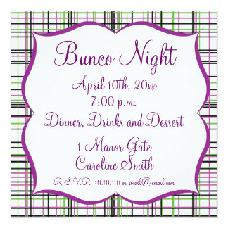 Plaid Invitiation - Green, White, Purple, and Blac Card