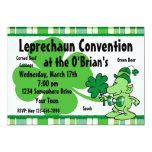 "Plaid Leprechaun Custom Invitations 5"" X 7"" Invitation Card"