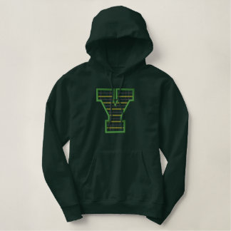 Plaid Letter Y Embroidered Hoodie