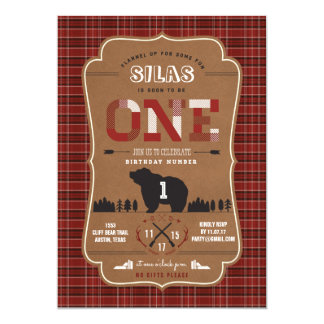 Plaid Lumberjack First Birthday Party Invitations