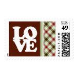 Plaid; Maroon & Sage Stamp