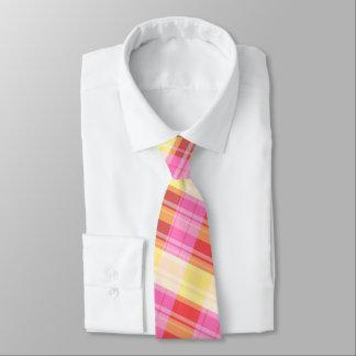 plaid men's tie red, pink, yellow, orange