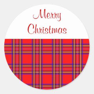 Plaid Merry Christmas Stickers