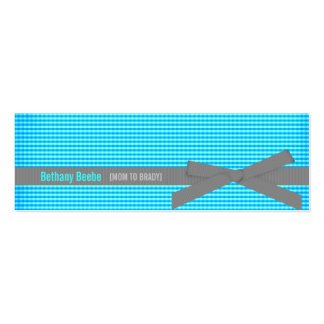 Plaid Mommy Calling Cards Teal Business Card Template