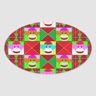 Plaid monkeys. oval sticker
