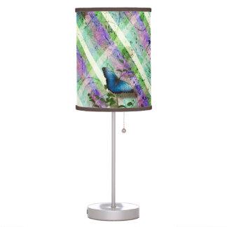 Plaid Morpho Butterflies Scrapbook Style Desk Lamp