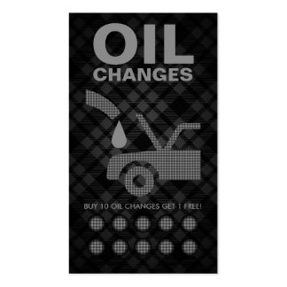 plaid oil changes punch card business card