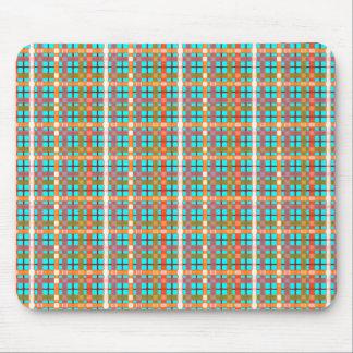 Plaid-on Aquamarine-Blue Background Pattern Mouse Pad