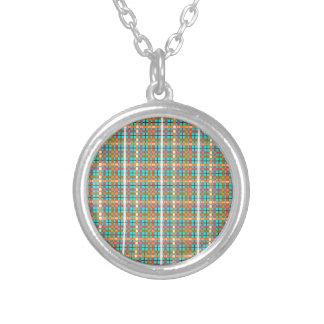 Plaid-on Aquamarine-Blue Background Pattern Round Pendant Necklace