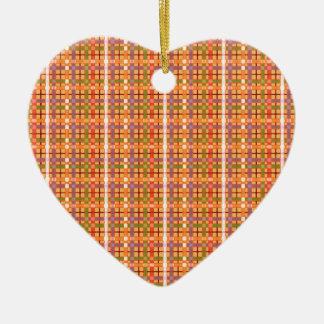 Plaid-On-Beeswax-Orange-Yellow-Background Pattern Ceramic Ornament