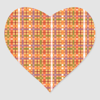 Plaid-On-Beeswax-Orange-Yellow-Background Pattern Heart Sticker