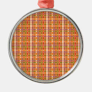 Plaid-On-Beeswax-Orange-Yellow-Background Pattern Metal Ornament