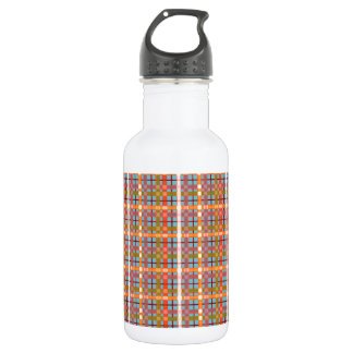 Plaid-On-Blue-Curacao-Background Pattern Water Bottle