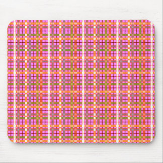 Plaid-On-Bubblegum-Pink-Background Pattern Mouse Pad