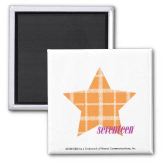 Plaid Orange 2 2 Inch Square Magnet