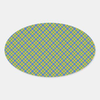 Plaid Oval Sticker