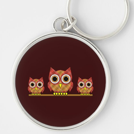 plaid owls Silver-Colored round keychain