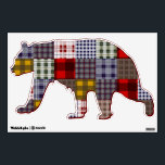 """Plaid Patchwork Inspired Bear Wall Decal<br><div class=""""desc"""">A wall decal shaped like a brown bear featuring a plaid patchwork inspired pattern.</div>"""