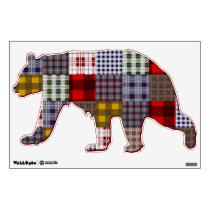 Plaid Patchwork Inspired Bear Wall Decal