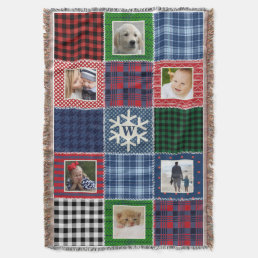 Plaid Patchwork Photo and Monogrammed Snowflake Throw