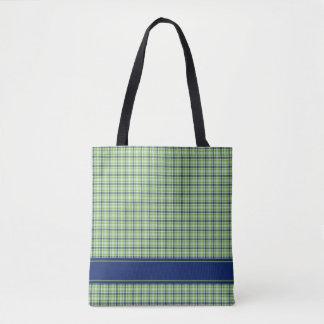 Plaid Pattern Blue Green Add Name or Monogram Tote Bag