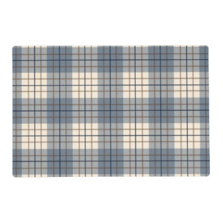 Plaid Pattern Blues Brown Cream Placemat