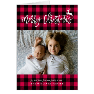 Plaid Pattern Christmas Photo Card