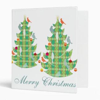 Plaid Pattern Christmas Tree And Birds Vinyl Binder