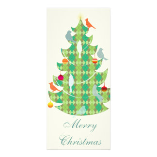 Plaid Pattern Christmas Tree And Birds Rack Card Design