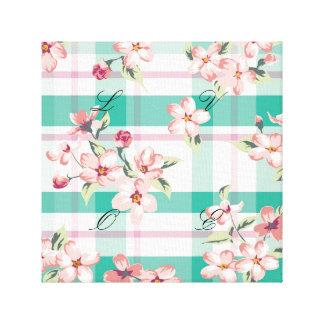 Plaid,pattern,floral,green,pink,white,trendy,fun, Canvas Print