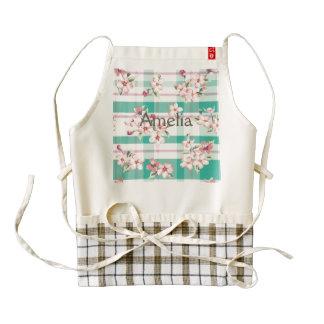 Plaid,pattern,floral,green,pink,white,trendy,fun, Zazzle HEART Apron