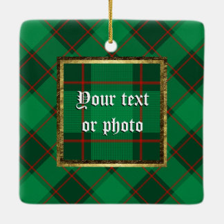 Plaid Pattern - Green and Red Ceramic Ornament