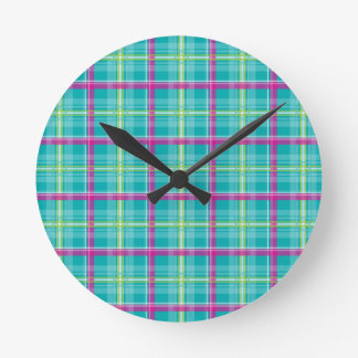 Plaid-Pattern-Pink-Blue-Background Round Wallclocks