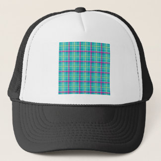 Plaid-Pattern-Pink-Blue-Background Trucker Hat