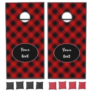 Plaid Pattern - Red and Black Cornhole Set