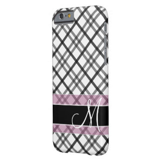 Plaid Pattern with Monogram - black white pink Barely There iPhone 6 Case