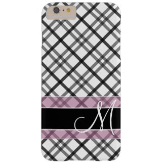 Plaid Pattern with Monogram - black white pink Barely There iPhone 6 Plus Case