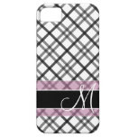 Plaid Pattern with Monogram - black white pink iPhone 5 Cover