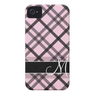 Plaid Pattern with Monogram - black white pink Case-Mate iPhone 4 Cases
