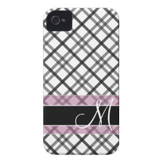 Plaid Pattern with Monogram - black white pink Case-Mate iPhone 4 Case