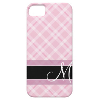 Plaid Pattern with Monogram - black white pink iPhone SE/5/5s Case