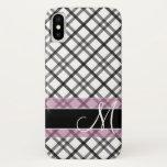 Plaid Pattern with Monogram - black white pink iPhone X Case