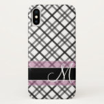 "Plaid Pattern with Monogram - black white pink iPhone X Case<br><div class=""desc"">A classic elegant design for your phone.</div>"