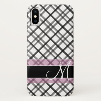 Plaid Pattern with Monogram - black white pink iPhone X Case