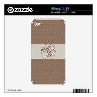 Plaid Pattern with Monogrammed Initials iPhone 4 Skin