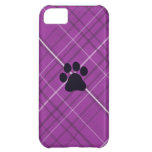 Plaid Paw Print Case For iPhone 5C