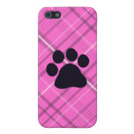 Plaid Paw Print Case For iPhone SE/5/5s
